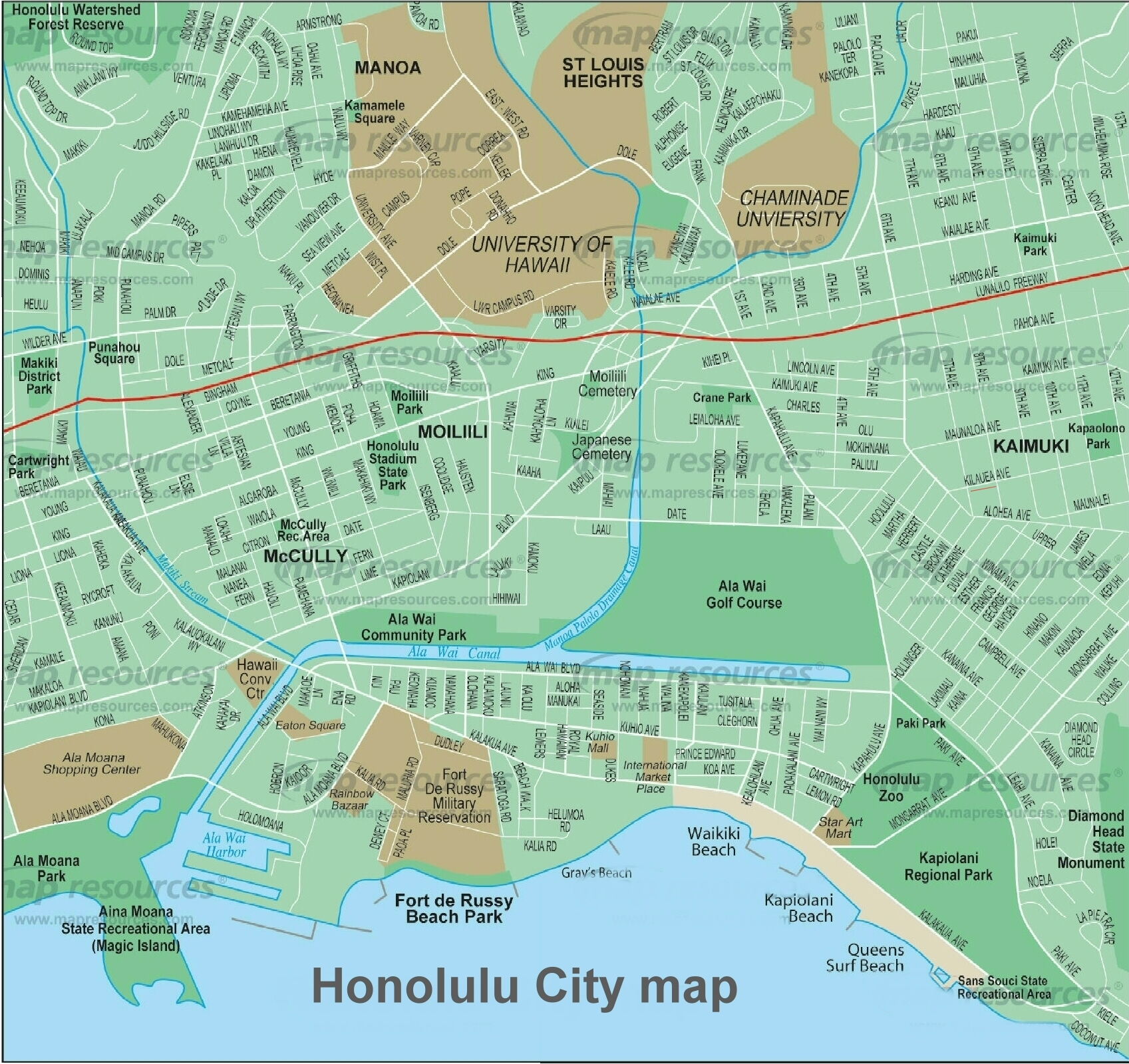Honolulu Map  Online Map