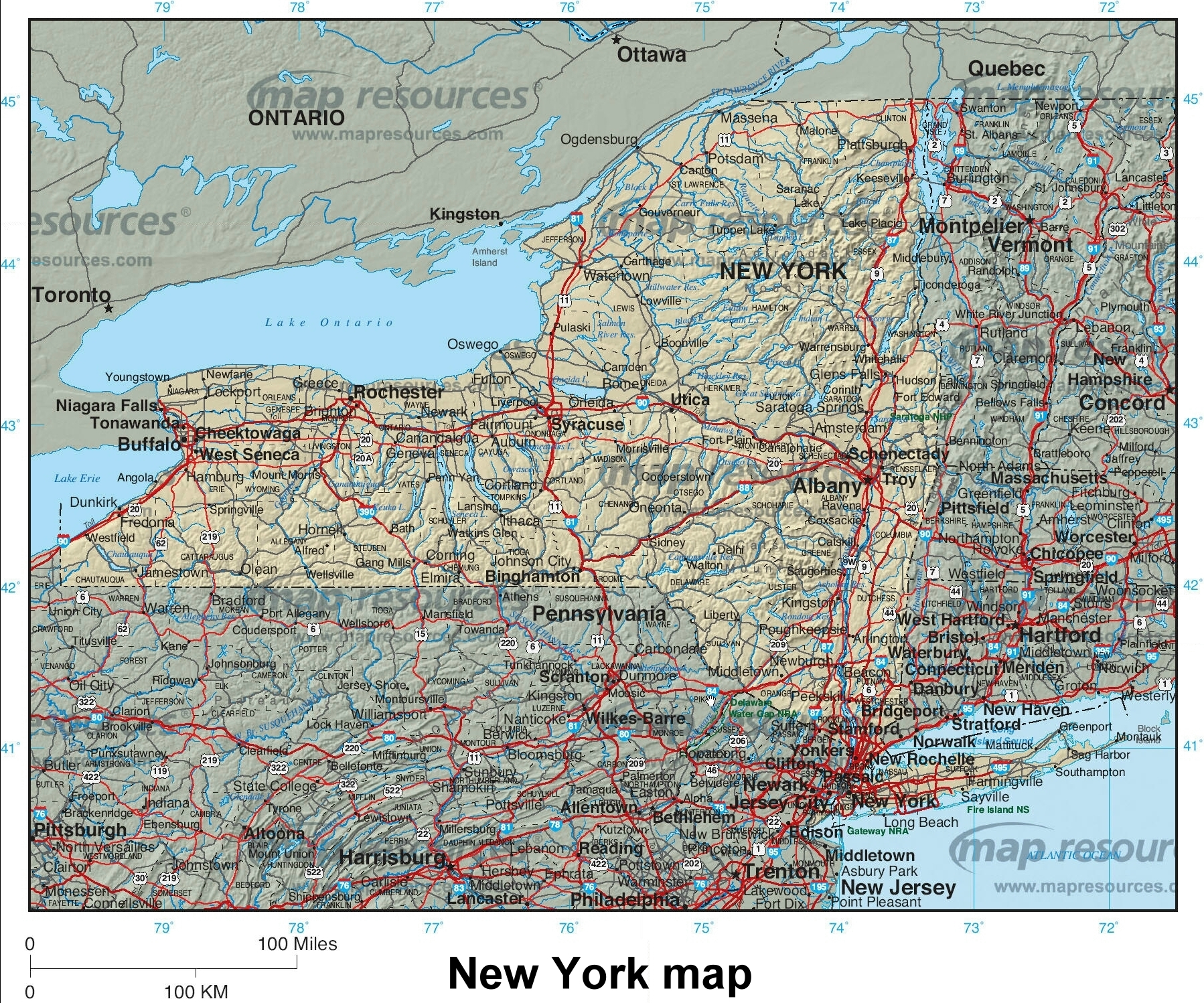 Pics Photos  New York State Highway Road Map