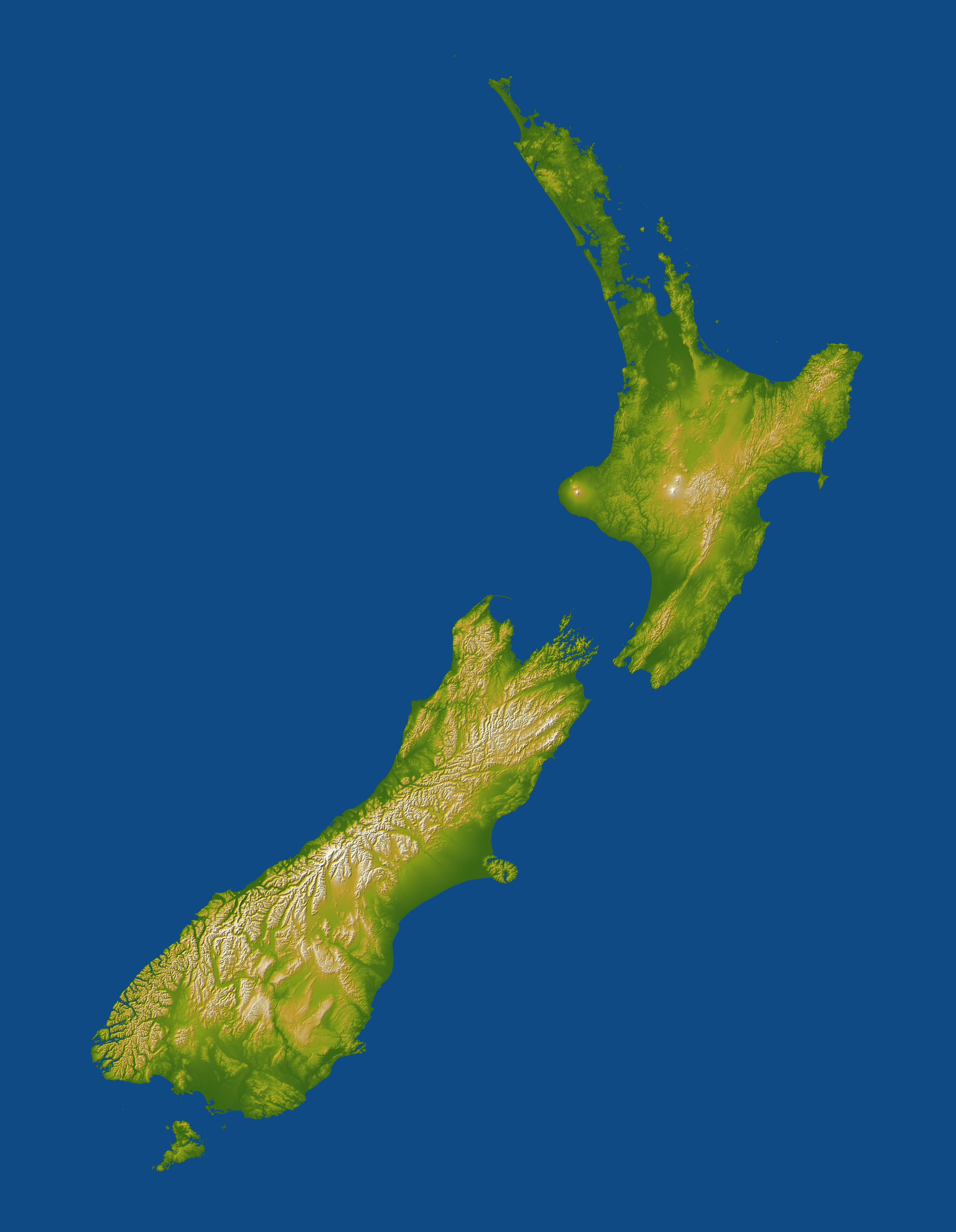 New Zealand  SRTM Shaded Relief and Colored Height  map